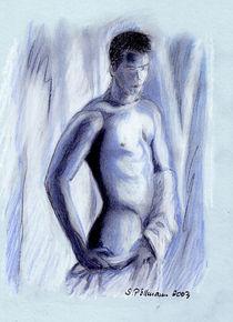 Männerakt in blau von Susanne Edele
