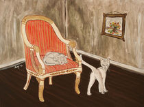 Die Katze auf dem Stuhl von Annett Tropschug