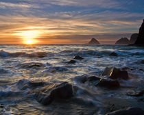 Sunset at Three Arch Rocks, Oceanside, Oregon, USA. by Tom Dempsey