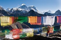 Mount Everest, prayer flags, Nepal by Tom Dempsey