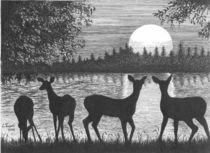 Deer at Dusk von Lawrence Tripoli