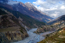 River and Clouds near Manang by serenityphotography