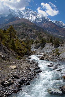 River and Mountains en route to Manang by serenityphotography