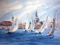 Regatta vor Konstanz im Winter  von Christine  Hamm
