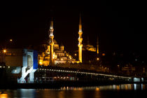 Galata Bridge and Eminonu New Mosque by Evren Kalinbacak