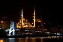 Galata Bridge and Eminonu New Mosque by Evren Kalinbacak
