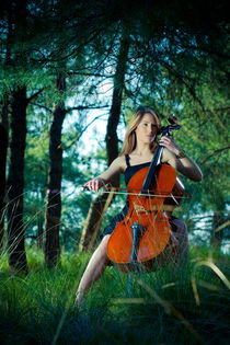 Musician in forest by redtapephoto
