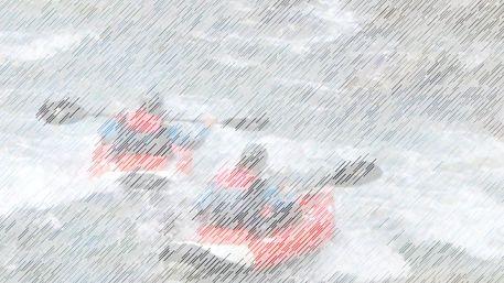 Wildwasser-kajakfahrer