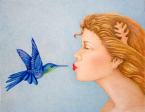 Girl Kissing Hummingbird by Darrell Ross
