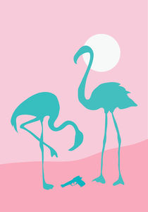 Two flamingos finding gun von Sofia Wrangsjö