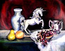 Still Life With Fruit and Unicorn von Renuka Pillai