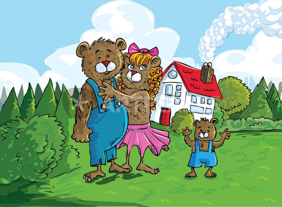 """Cartoon family of bears"" Drawing art prints and posters ..."