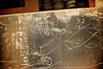 Workman's Calculations Scrawled on Industrial Sheet Metal by Benjamin So