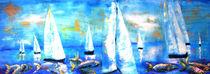 Segler mit Fische in Öl gemalt von Christine  Hamm