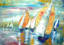 Regattafeld in Öl gemalt by Christine  Hamm