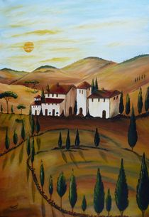Sonnenaufgang in der Toskana 2 von Christine Huwer