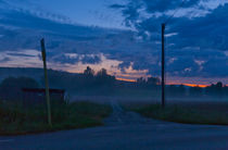 T-junction at midnight in Varmland, Sweden. by kbhsphoto