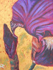 Purple Iris Impression on Gold by Warren Thompson
