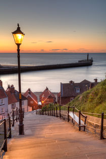 Whitby Steps - Orange Glow by Martin Williams