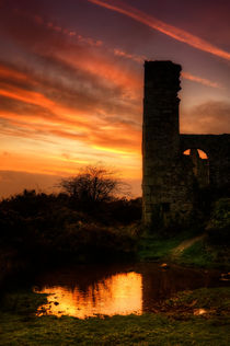 Sunset at Wheal Frances, Cornwall by Christine Fitzgerald
