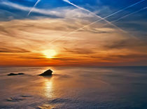 Cornish Contrails In Colour by Christine Fitzgerald