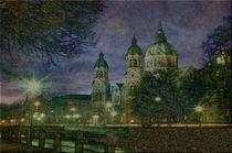 München  St. Lukas bei Nacht von Marie Luise Strohmenger