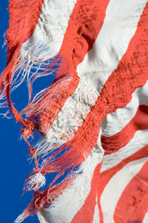 Torn American flag and blue sky by Lars Hallstrom
