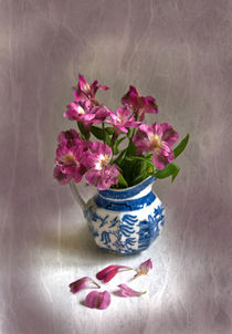 Pink Flowers in Blue Jug by Jacqi Elmslie