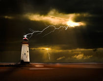 lighthouse and lightning storm by meirion matthias