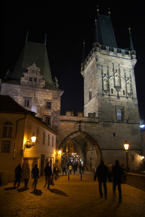 On the Charles Bridge at Night by serenityphotography