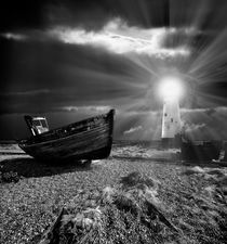 abandoned fishing boat and lighthouse von meirion matthias