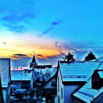 Sunset over the town von Ursula Wolfangel-Hoppmann