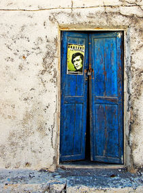 santorini blue door by meirion matthias