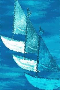 Boote blau von Christine Bässler