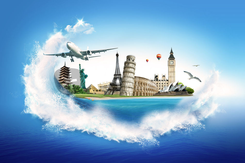 Travel all around the world graphic illustration art for All around the world cruise