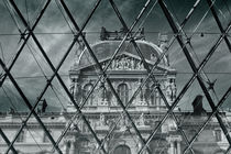 Louvre museum, view through the pyramid at the entrance to the museum by Tanja Krstevska