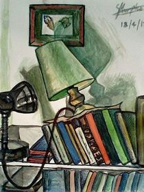 lamps and bookshelve von Sarah K Murphy