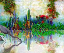 blue heron in my mexican garden von john kolenberg