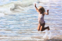 Young Girl Jumping in Ocean Waves by thesandysoul