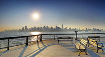 Sunrise Midtown Manhattan at the piers in Union City, New York by Zoltan Duray