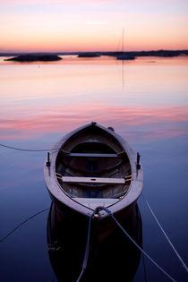 Boat at sundown by Eigil Korsager