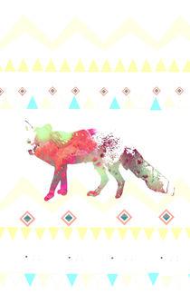 Watercolor native fox von nikastudio