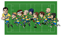 Cartoon rugby team by William Rossin