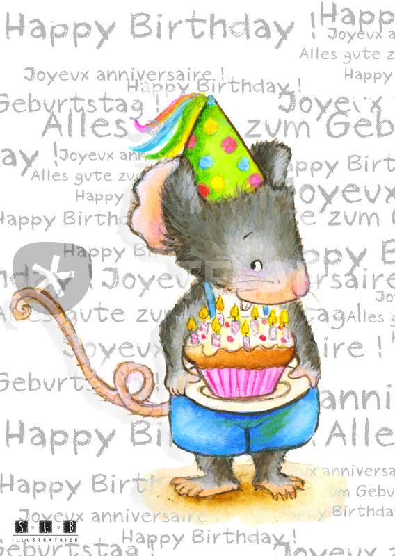 Maus Alles Gute Zum Geburtstag Happy Birthday Joyeux Anniversaire