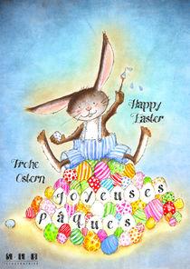 Joyeuses Pâques Bleu, Happy Easter Blue, Frohe Ostern Blau von sarah-emmanuelle-burg