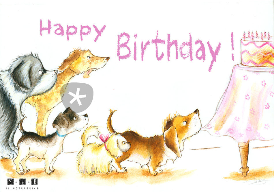 Artflakes Happy Birthday Dogs
