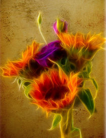 Three Sunflowers and a Lisianthus by Fiona Messenger