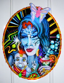 Nativity-scenesters-madonna-on-the-rocks-oil-paints-and-multimedia-assemblage-on-canvas-june-2012-john-lanthier
