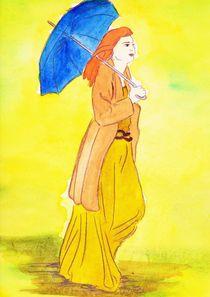 Frau mit Regenschirm von michaba