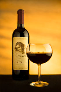 Da Vinci Chianti Wine with Glass by Ken Howard